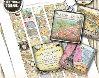 PARIS MAPS printable digital collage 1x1 inch square - paris france for glass pendant clipart magnet - instant download printable - qu494