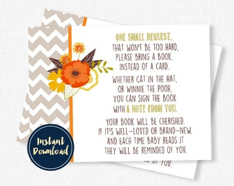Fall in Love Baby Shower Book Request, Baby Shower Book Inserts, Autumn Book Request Cards, Book Instead of a Card INSTANT DOWNLOAD