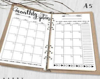 Printable Planner Insert Monthly Planner, A5 Monthly Planner, Printable A5 Organizer Notebook monthly planner inserts, PDF file