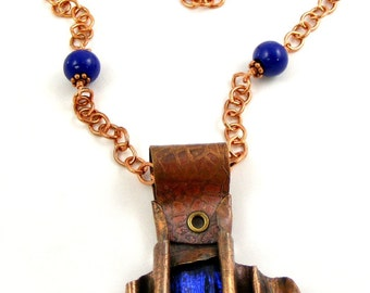 Cobalt Blue Necklace, Copper Necklace, Dichroic Glass Pendant, Handmade Enamel Beads, Metal Jewelry