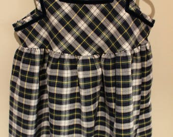 Navy and Emerald Green check Dress