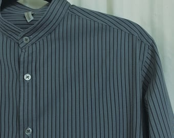 Men's upcycled shirt, slate blue w/grey stripe, collarless, button band collar, long sleeves, Steampunk-Victorian-Western, size S/fitted