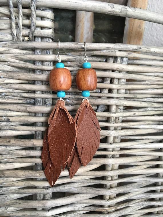 Leather Leaf Boho Earrings - Long Dangle Bohemian Jewelry - Southwestern Style Statement Earrings