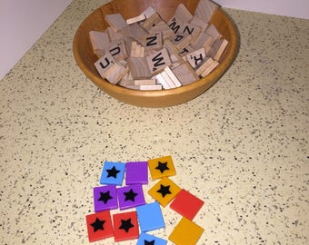 Scrabble Tiles Full Set of 100 Wooden Alphabet Tiles Plus 12 Plastic Power Tiles
