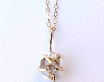 Gold Herkimer Diamond Necklace Herkimer Diamond Gold Necklace