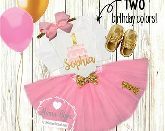 1st Birthday Girl Outfit Shirt Clothing 1st 2nd 3rd or 4th Birthday Girl Personalized Cake Outfit Birthday  Customize Colors-SHIRT ONLY