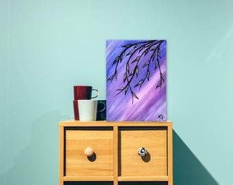 "Hanging Gently - 6x8"" acrylic painting"