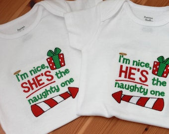 Twin Set of Embroidered Baby Onepiece Bodysuits or T-Shirts - Twin Naughty Ones