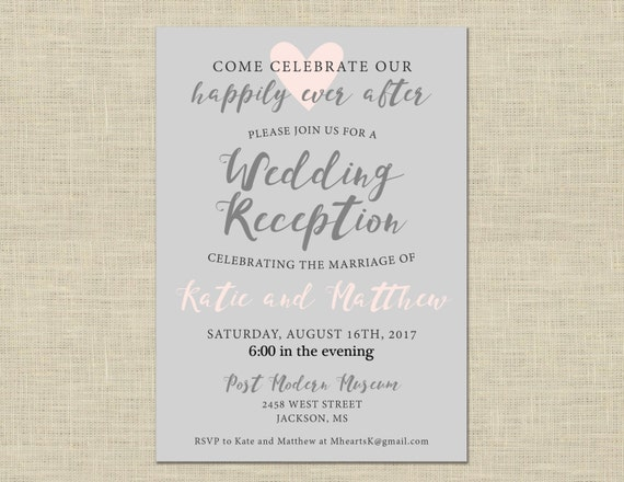 After The Wedding Party Invitations: Printable Wedding Reception Invitation Celebration After