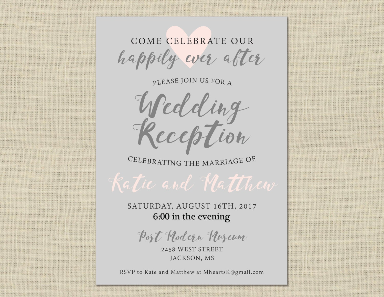 Printable Wedding Reception Invitation Celebration After