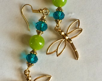 Golden Dragonfly Earrings with nice Green Peridot Beads