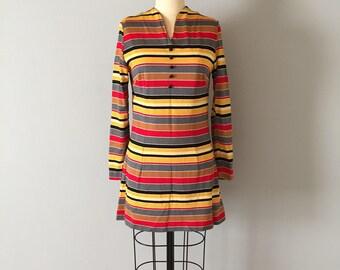 1960s MOD mini dress | original 60s knit dress | striped long sleeve mini dress
