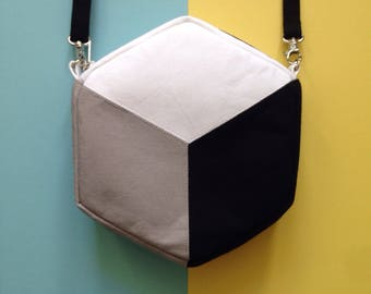 Hexagon / Cube Cross body bag, Colour Block Handbag, Geometric design handbag  Monochrome with gusset, cotton canvas handmade