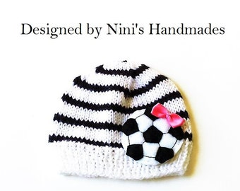 Knit Girls White and Black Soccer Beanie, Soccer hat, girls apparel, Wholesale  girls clothing, handmade in the USA, girls soccer apparel
