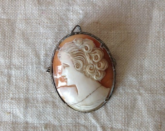 Vintage Cameo Brooch - Cameo Pendant - Carved Shell Broach - Portrait Brooch - Cameo Art