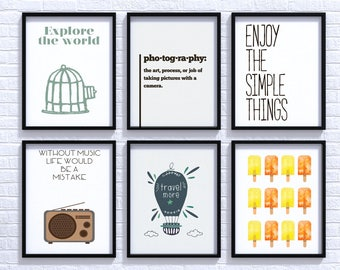 6 posters A5 print for home wall decor