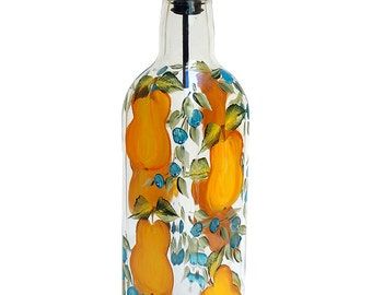 Hand Painted Glass Bottle Olive Oil Dispenser Yellow Pears & Blueberries Hand Painted Glassware Hand Painted Oil Vinegar Soap Dispensers