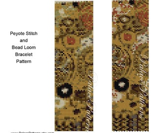 DIY Bracelet Pattern - Klimt 5 - Peyote Stitch and Bead Loom Bracelet Pattern