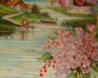Pretty Vintage Floral/Sceanic Postcard #1