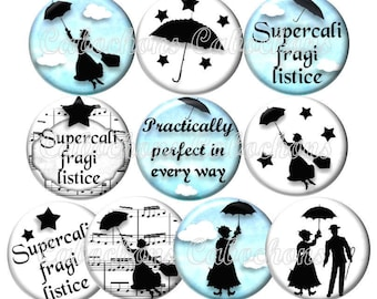 Set of 10 cabochons 25mm glass, Mary, storybook, your turquoise and white ref ZC115