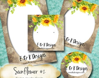 SUNFLOWER #2•Custom Tags•Labels•Earring Display•Clothing Tags•Custom •Boutique Card•Tags•Custom Tags•Custom Labels