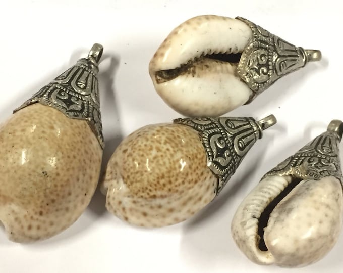 1 pendant - Large gorgeous  Tibetan  silver lotus floral design bail capped ethnic shell pendant - SP062