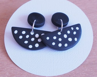 Handmade polymer clay drop and dangle spotty earrings