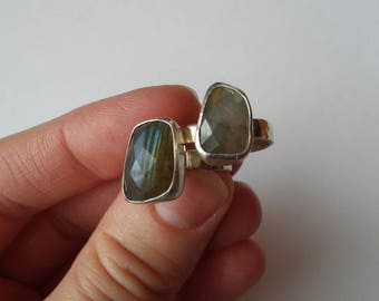 Soul Sisters Friendship Rings: Labradorite bezel-set in Fine Silver on hammered Sterling Silver bands, size 7, pair.