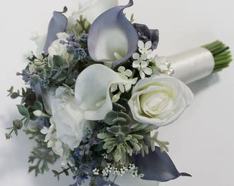 Blue Wedding Bouquet Blue Bouquet  Bridal Bouquet Winter Wedding Blue Bridal Bouquet Wedding  Bouquets