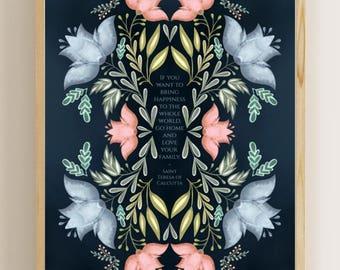 """Mother Teresa, Love Your Family 8""""x 10"""" Print (Folk Art Style Flowers)"""