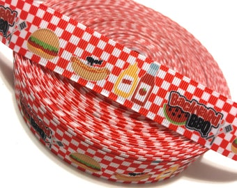 "1"" Backyard Barbecue Ribbon, Hamburger Ribbon, Hotdog Ribbon, Grosgrain Ribbon, Ketchup Ribbon, Summer Ribbon"