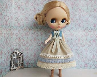Blythe Dress Beige Blue Dress Blythe clothes lace bow Blythe clothing Denim Blythe outfit Blythe doll Pullip OOAK fashion gift
