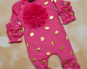 Hot Pink and Gold Ruffle Infant Layette Cotton Baby Romper with Large Chiffon On The Chest and Matching Headband