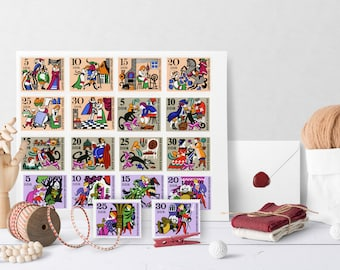 Fairytale Stamps Collection, Fairytale Digital Art, FairyTale Digital Stamps, German Fairytale Digital Files, German Stamps, Brothers Grimm