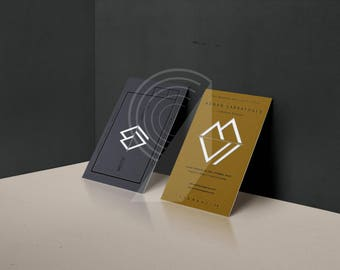 Modern business card etsy digital graphic modern business card design reheart Image collections