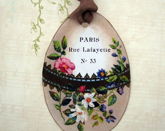 French Chic Easter Egg  Gift Tags Handmade