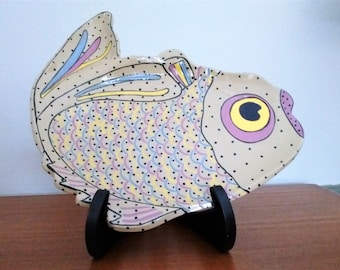 Fish platter, hand-painted ceramic, kitchen kitsch, Vintage