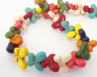 "Butterfly Beads - Gemstone Butterfly Pendant - Multicolored Beads - Howlite Beads - Nature Lover - 15"" strand - DIY Summer Jewelry Beads"