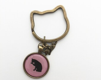 keychain with cat, pink and black, shape cat keyring, assorted charms