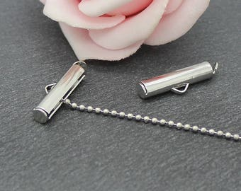 Platinum silver plated copper AP151 tubes 6 tips clasps