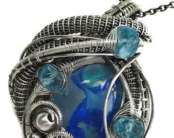 Wire-Wrapped Australian Opal Pendant in Antiqued Sterling Silver with Blue Apatite