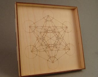 "Charging grid Crystal Grid, Metatron's Cube Engraved wood, 6"" x 6"" Sacred Geometry, Crystal, Tray, Plate, wooden, Energy, Alter, box"