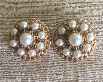Faux Pearl Gold Tone Filigree Clip On Earrings /  Mid Century  / Estate Jewelry / Bridal Jewelry / Formal Dress Earrings /