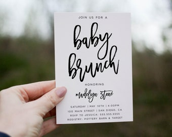 Floral Baby Shower Brunch Invitation Boho Gender Neutral