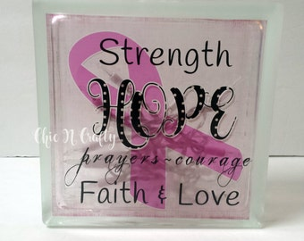 Breast Cancer Awareness, Breast Cancer,Cancer Awareness,Glass Block Nightlight, Nightlight, Hope,Strength, Courage