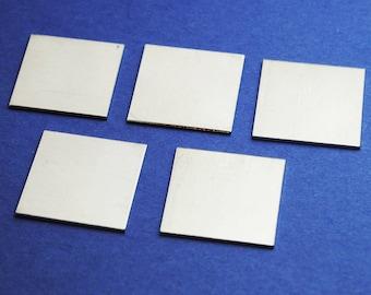 "Ten Large 18g Aluminum 1"" Square Blanks - 1100 Soft Temper Aluminum Pendant Stamping Blanks"