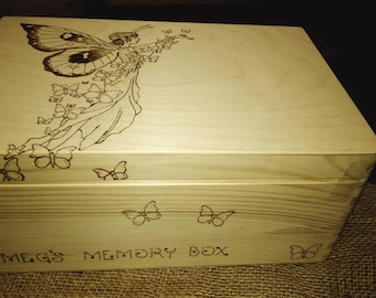 Large memory keepsake wood box engraved, pyrography gorgeous magical fairy wishes and dreams