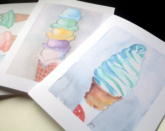Ice Cream Cards - Ice Cream Cones Watercolor Art Blank Notecards - Food Illustration Cards - Set of 8 Cards