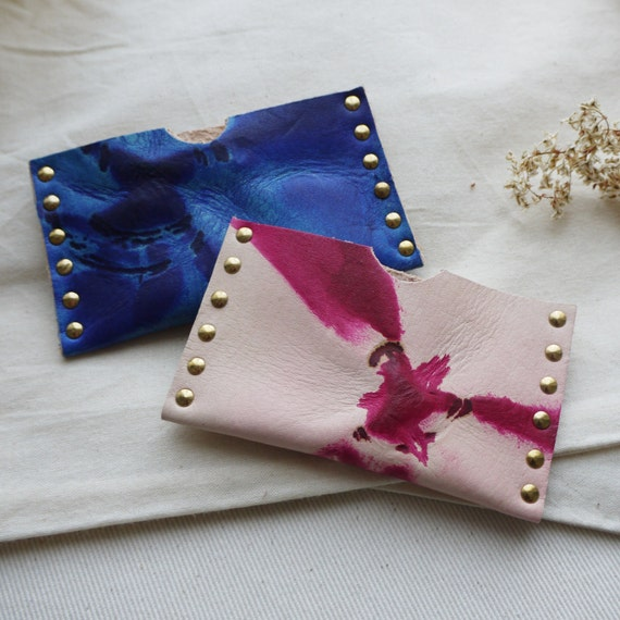 Leather card holder tie dye leather business card holder colourmoves