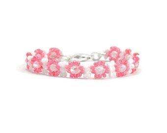 Girls Pink Bracelet - Daisy Chain Jewelry - Child's Seed Bead Bracelet - Children's Jewelry - Beaded Kids Bracelet - Flower Bracelet
